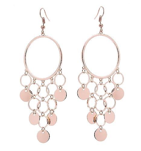 be1a34cba Amazon.com: HY Comp Geometric Circle Chandelier Drop Earrings Boho Long  Sequins Tassel Dangle Earrings Hoop Earrings (rose gold): Jewelry