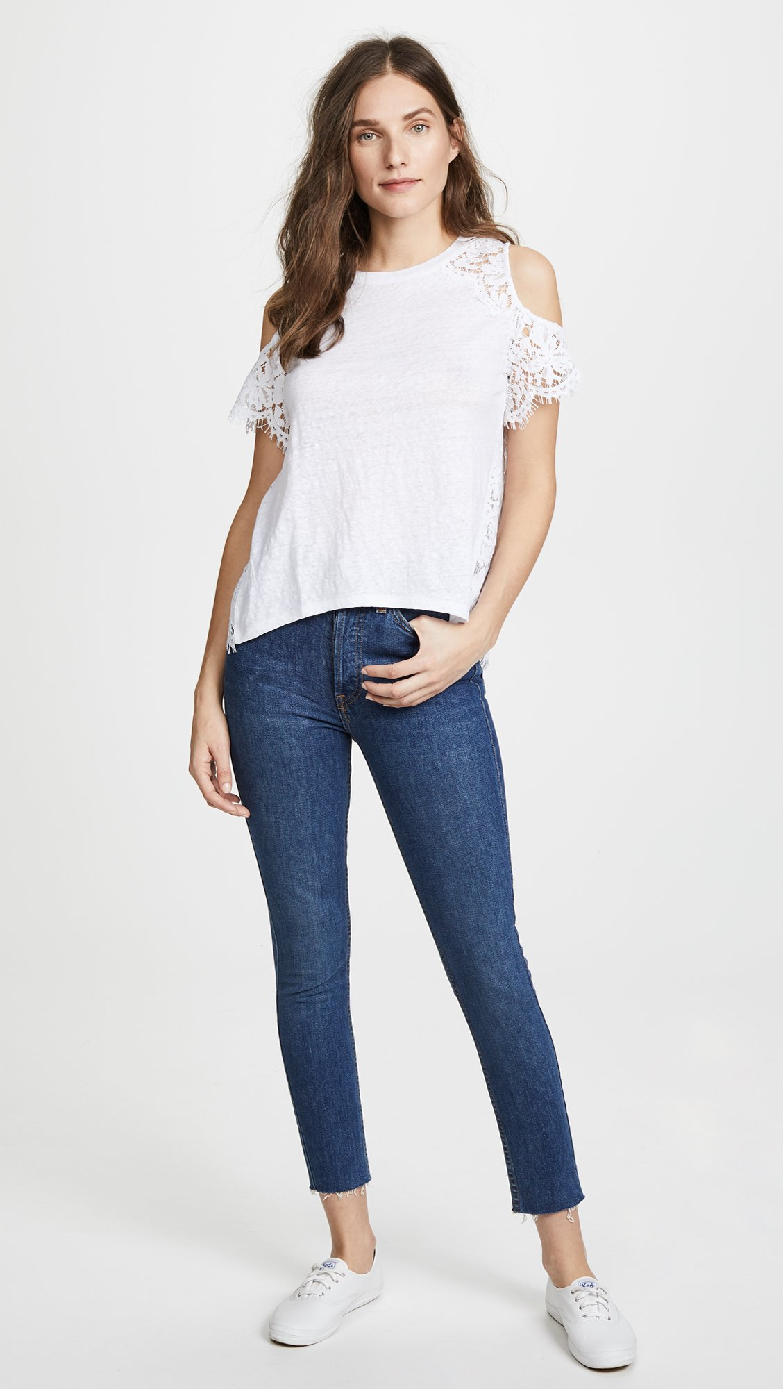 Generation Love Women's London Lace Cold Shoulder Tee, White, Small by Generation Love (Image #5)