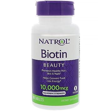 Natrol Biotin (10,000mcg) Maximum Strength 100 tabs by NATROL: Amazon.es: Salud y cuidado personal