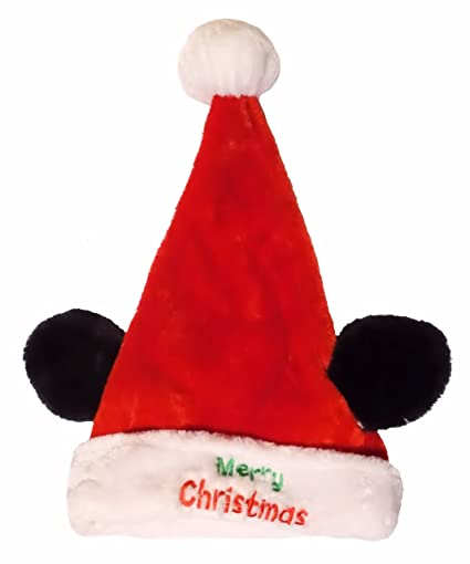 17 inch disney merry christmas mickey mouse embroidered santa hat - Merry Christmas Mickey Mouse