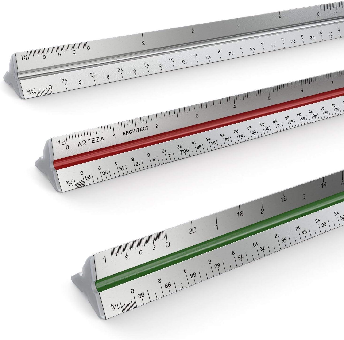 Regla 30 cm Ranuras codificadas aluminio escala de arquitec