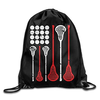 guolinadeou USA Lacrosse American Flag Drawstring Backpack Beam Mouth Gym Sack Shoulder Bags For Men/
