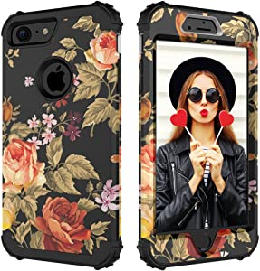 Digital Hutty 3 in 1 Shockproof Heavy Duty Full-body Protective Cover for Apple iPhone 7,iPhone 8 Flower