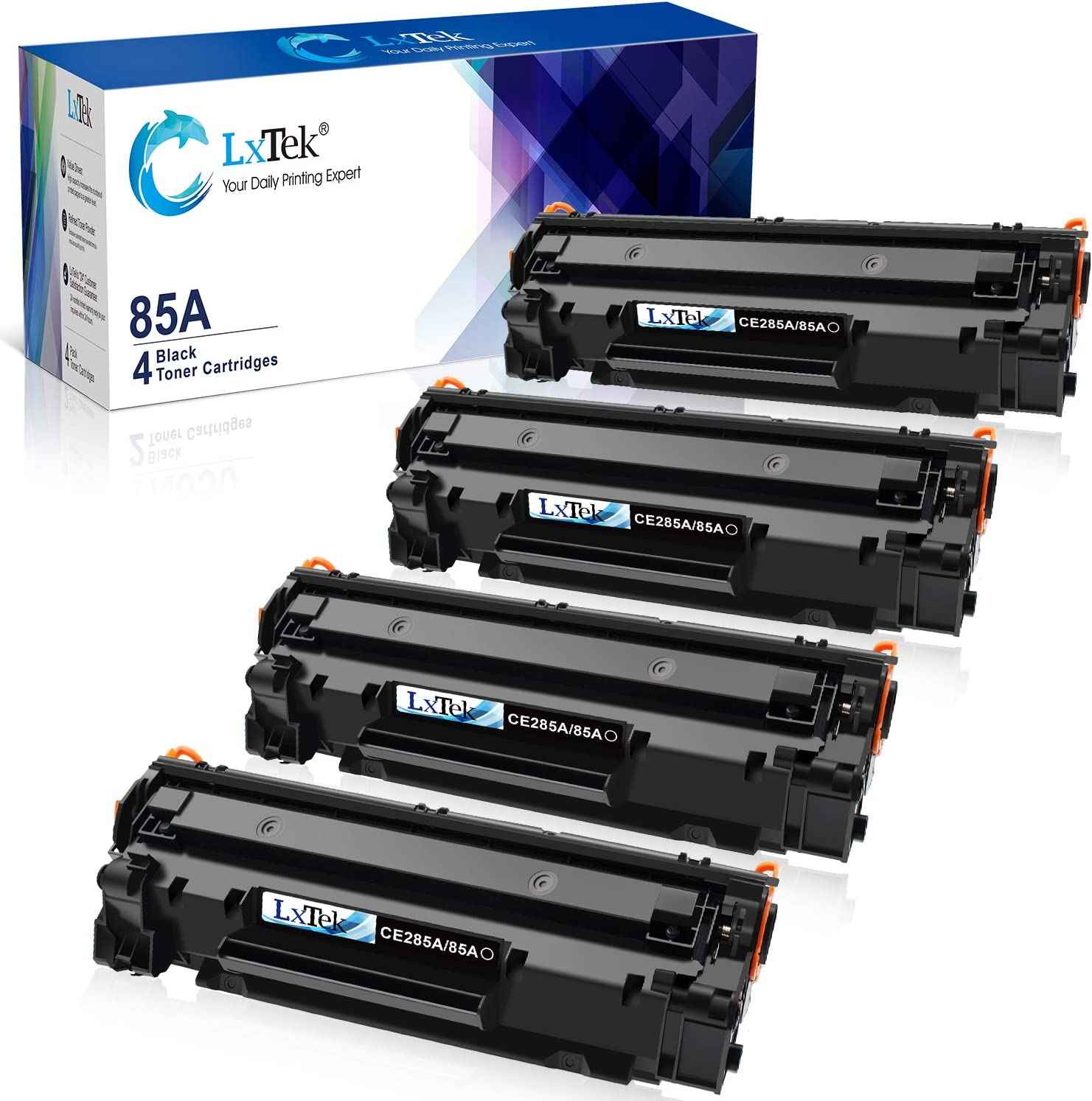 LxTek Compatible Toner Cartridge Replacement for HP 85A CE285A to use with Laserjet Pro P1102W Pro P1109W M1212NF M1217NFW (Black, 4-Pack)