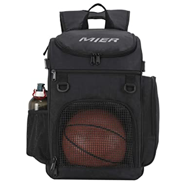 MIER Basketball Backpack Large Sports Bag for Men Women with Laptop Compartment, Best for Soccer, Volleyball, Swim, Gym, Travel, 40L