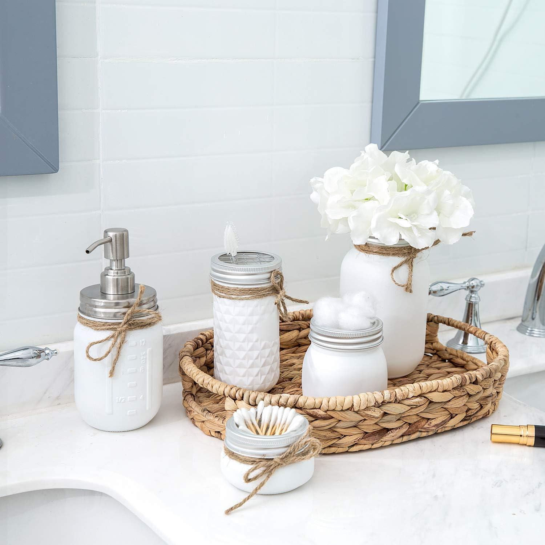 Mkono Mason Jar Bathroom Accessories Set Painted MasonJars Bathroom Organizer Include Liquid Soap Dispenser, Cotton Swab,Tissue,Toothbrush Holder,Rustic Country Countertop Fall Decor 5 Piece, White: Home & Kitchen