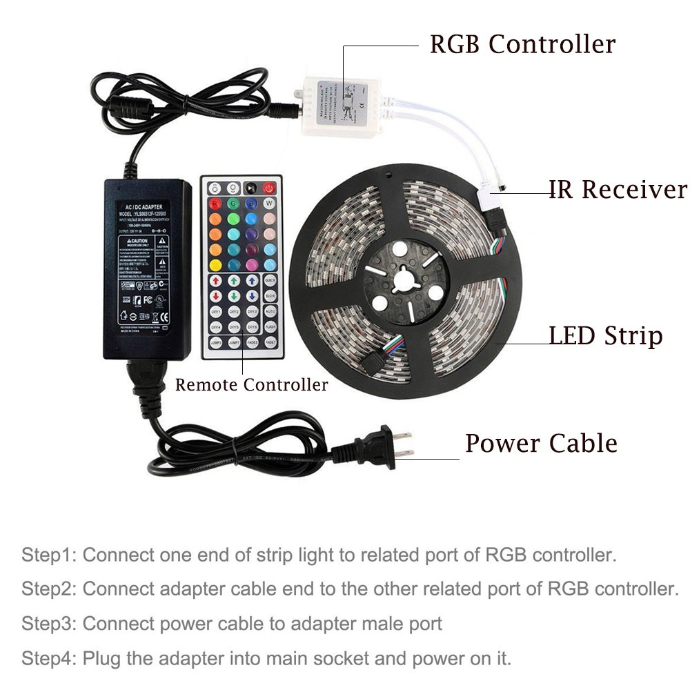 Amazon.com: Jiaderui Waterproof RGB LED Strip Lights, with 44 Key ...