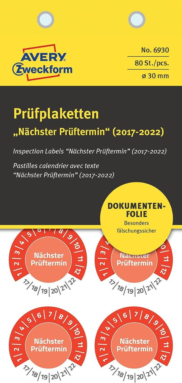 10 Bogen gelb 80 Etiketten, n/ächster Pr/üftermin 2018-2023, Durchmesser 30 mm AVERY Zweckform 6932 Pr/üfplaketten