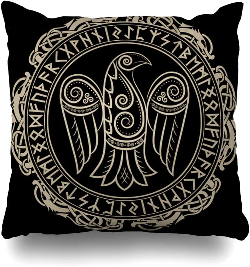 Ahawoso Throw Pillow Cover Magic Viking Raven Celtic Scandinavian Norse Pattern Odin Vintage Abstract Amulet Ancient Bird Design Home Decor Pillow Case Square Size 20 x 20 Inches Zippered Pillowcase