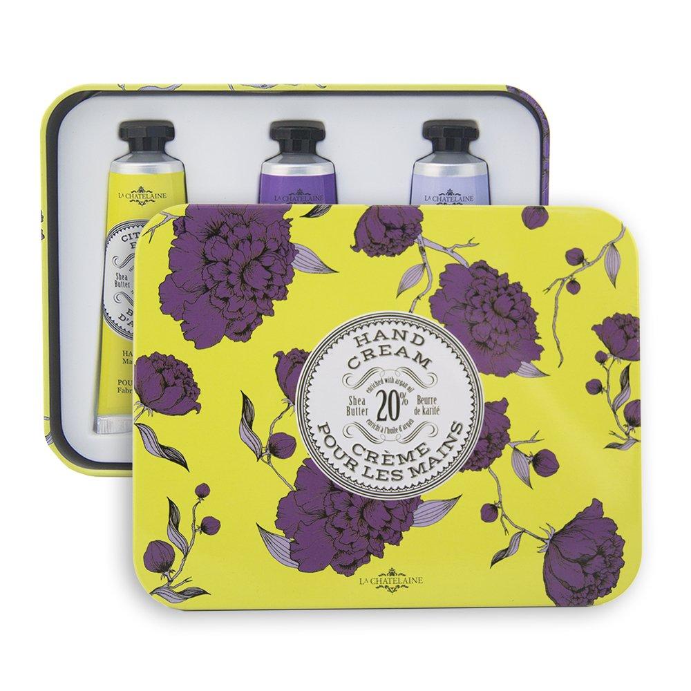La Chatelaine 20% Shea Butter Hand Cream Trio Tin Gift Set, Citrus Frizz, Pomegranate Mulberry, Lavender Ton Savon Inc.