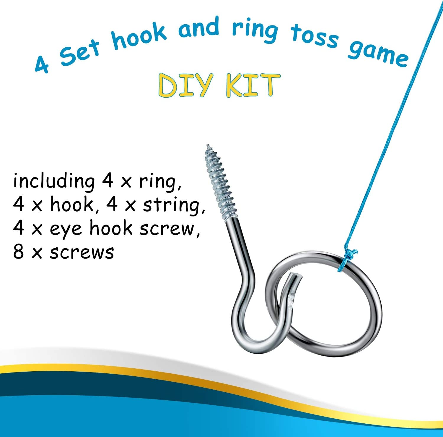 Hook and Ring Toss Game Ring Target Game Swing DIY Kit Stainless Hardware and Ho