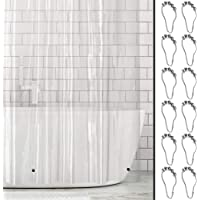 mDesign Plastic, Water-Resistant, Heavy Duty PEVA Shower Curtain Liner, 9 Stainless Steel Roller Hook for Showers and…