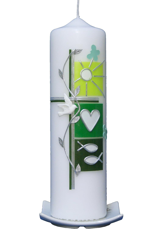 Taufkerze Sommer (grün) 25x7cm mit Karton, wird NUR auf Kundenwunsch für Sie gefertigt. Bei uns bekommen sie keine Massenware. Jede Kerze für sich, ist ein Unikat. Arte cera TK250092