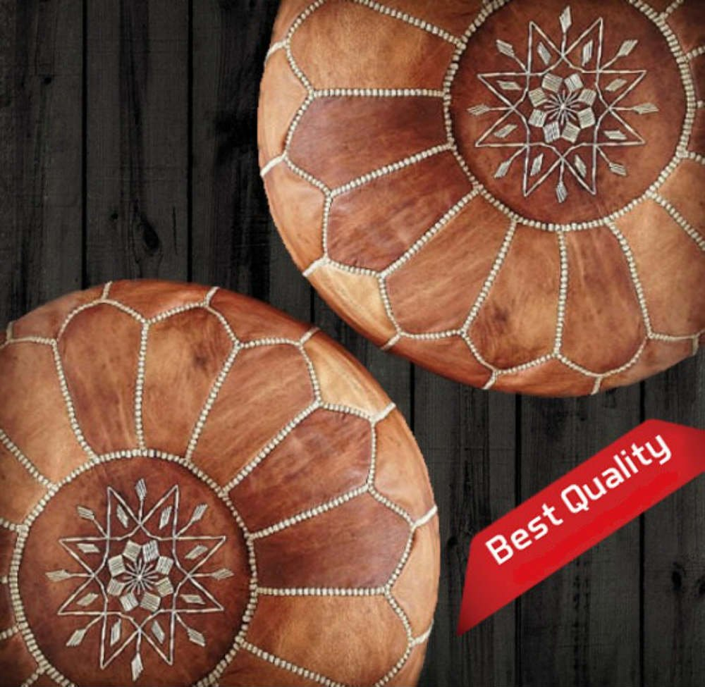 Set of 2 Amazing Moroccan pouf Light Tan color,Best offer,Ottomans Poffes,Footstool poufs,100% handmade leather poof,Ready to magic your living room! by ArtOuarzazate