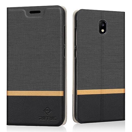 RIFFUE Funda Samsung J7 2017, Galaxy J7 2017 Carcasa PU Ultra Delgada con Cartera de Estilo Libro Vaquero Protectora de Folio Flip Case para Samsung ...