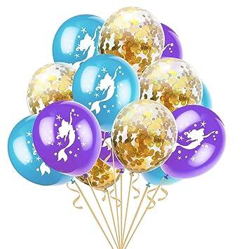 YeahiBaby 15pcs Globos del Confeti de la Sirena para la Boda de la Fiesta de Bienvenida al bebé de la Fiesta de cumpleaños