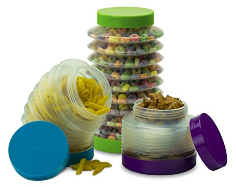 Beautiful Smart Planet Boing Collapsible Canisters (Set Of 3), Blue/Green/Purple