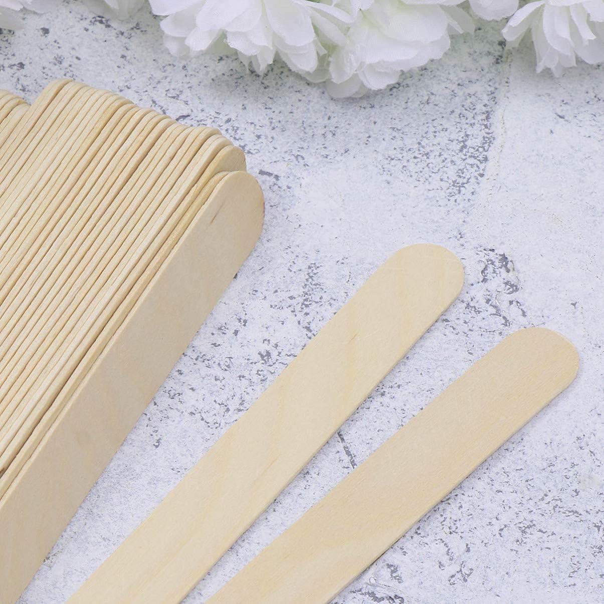 Amosfun 100 palitos de madera para helado accesorios de bricolaje 114x10x2mm Colorful palitos de paleta de madera natural para manualidades