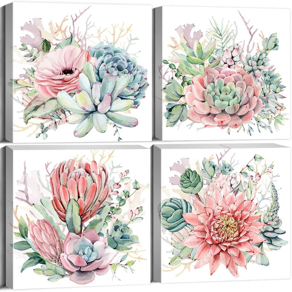 Succulent Wall Art for Girls Room Decor Canvas Prints Boho Tropical Desert Plants Pink Flowers Watercolor Bathroom Floral Framed Painting Gifts Modern Kitchen Office Home Decoration 12×12 Inch 4Pcs