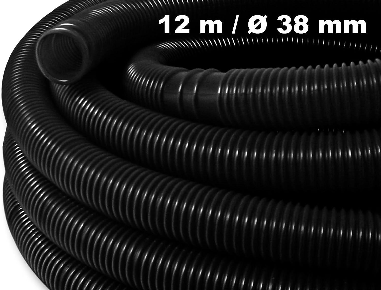 WilTec Manguera Solar Piscina negracon Manguitos 38mm 12m 190g/m Tubo plástico Piscina Fabricado en Europa