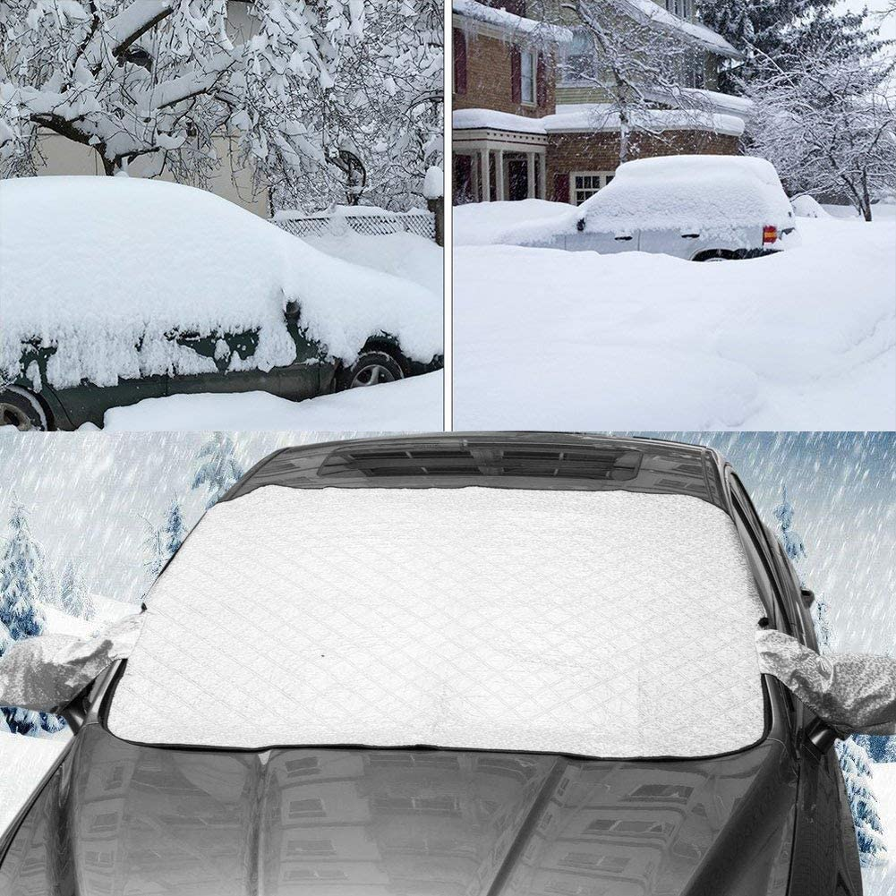 Big Hippo Windshield Snow Cover with Side Mirror Cover 57.9X 39.4 Thickened Car Snow Cover Windshield Frost Snow Ice Cover Sun Shade Protector Fits Most Most Cars,CRVs