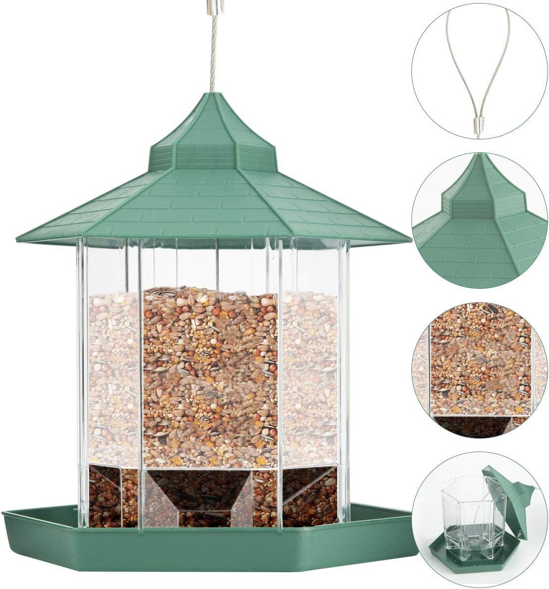 patio Comedero de p/ájaros Rehomy de pl/ástico colgante para p/ájaros con techo y bandeja para exteriores ardilla a prueba de ardillas jard/ín patio