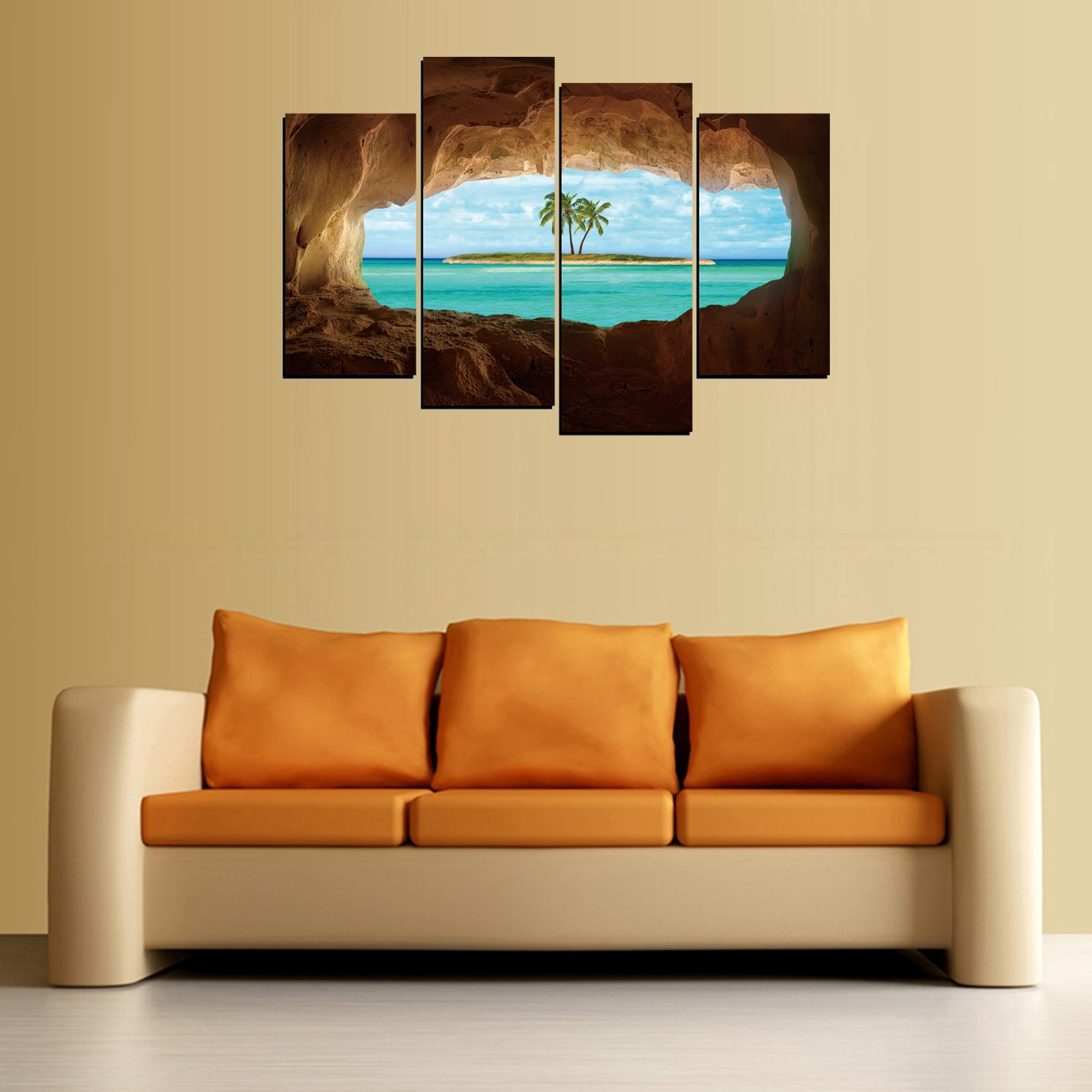 Amazon.com: Modern Home and Office Wall Decor 4 Panels Canvas Wall ...