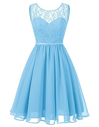 BetterGirl Damen Chiffon Abendkleider Kurz Spitze Brautjungfer Kleider  Ballkleid Elegant für Hochzeit  Amazon.de  Bekleidung 84108f80f9