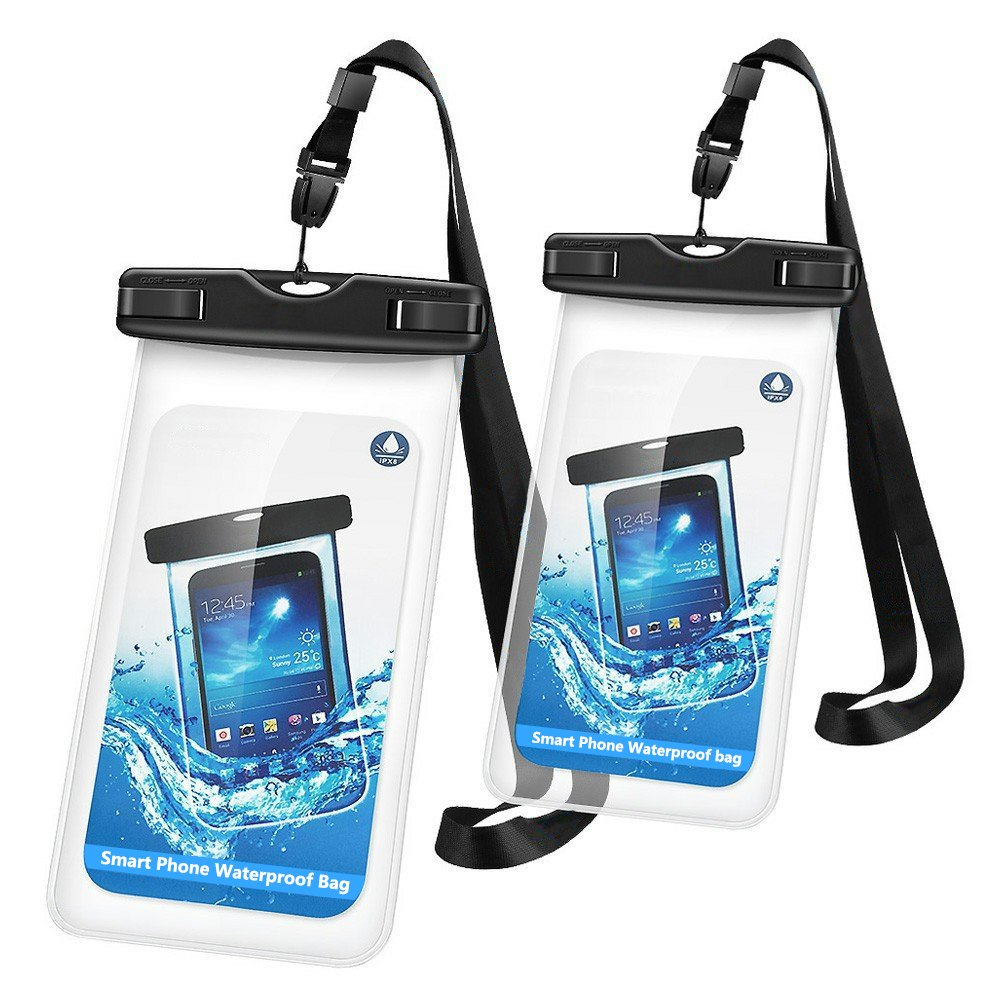 Waterproof Case, 2 Pack Firstbuy Phone Dry Bag Pouch for Outdoor Water sports,Case With Sensitive ScreenPerfect ForApple iPhone7 7plus 6S 6S Plus Note 5 S7 S6 Edge LG,phones up to 6 inches?Black?