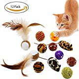 Bascolor Cat Toys Balls Interactive 12 Pack Feather Squeaky Bell Mice Catnip for Cat Kittens