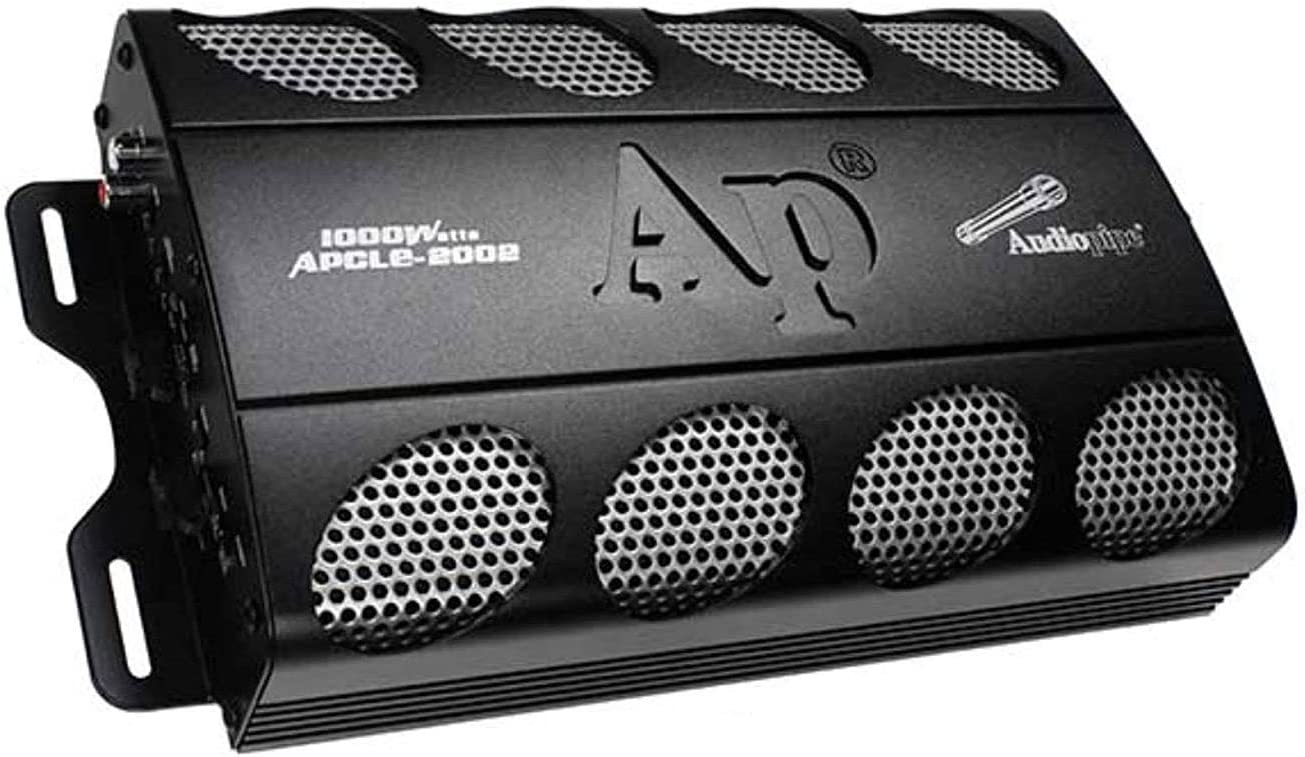 AudioPipe APCLE-2002 Class AB 2 Channel 1000 Watt MAX Car Audio Sound System Power Amplifier Kit with Bass Knob, RCA Input/Output, and Overload Protection
