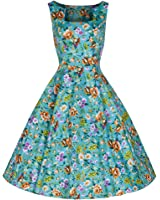 Pretty Kitty Fashion Turquoise Floral Print Rockabilly Swing 50s Dress
