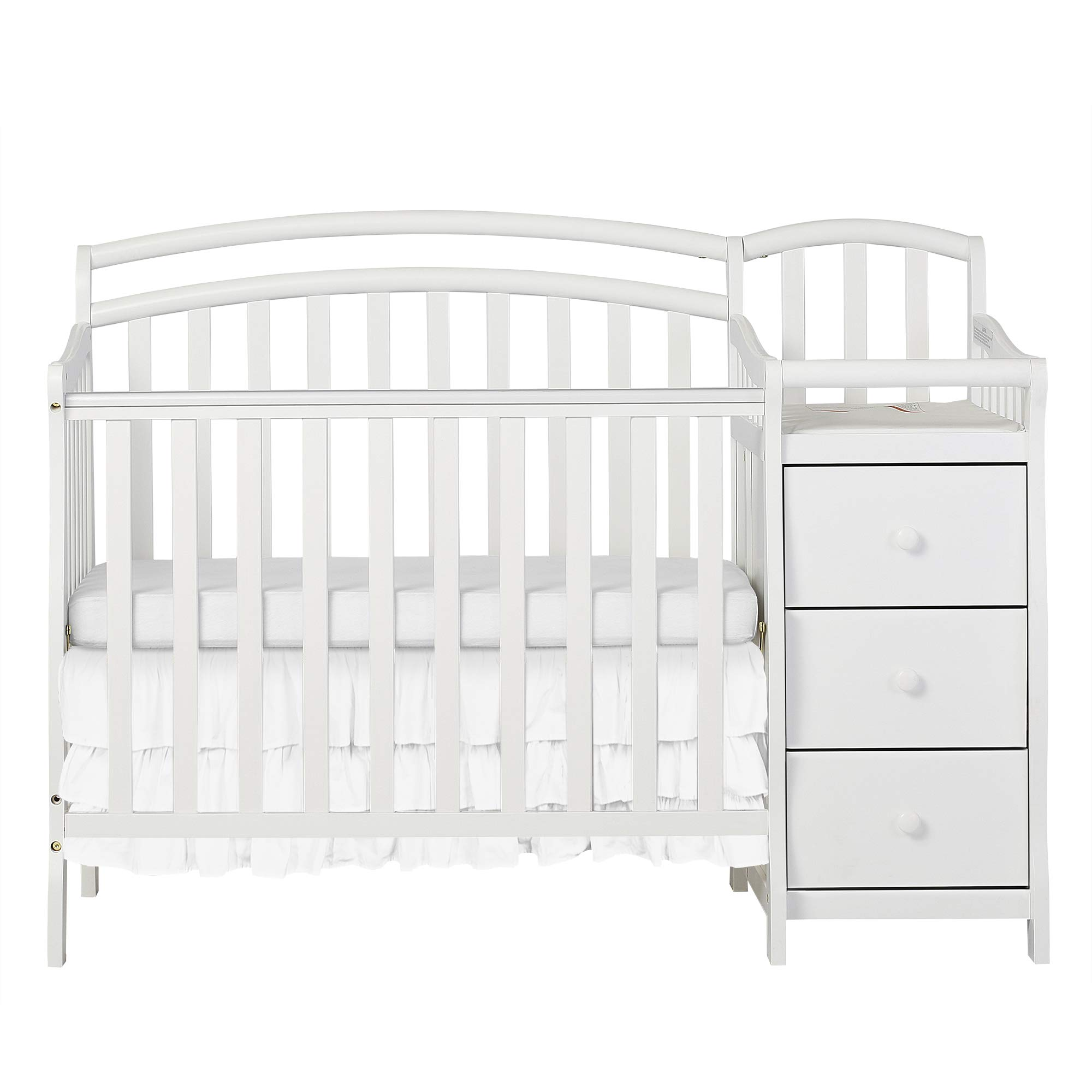 Dream On Me Casco 3 in 1 Mini Crib and Dressing Table Combo White by Dream On Me