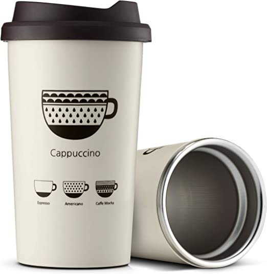 Steel Reusable Water Coffee Cup Takeaway Drinking Mug with Silicone Lid