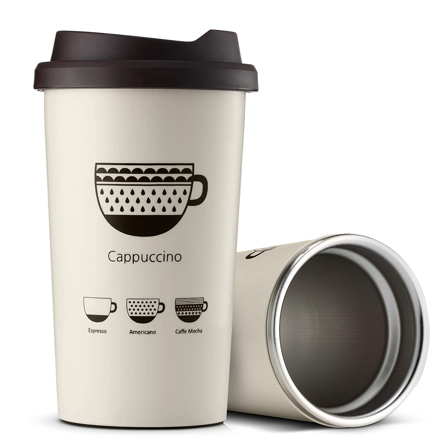 d404f9b5981e JVR Stainless Steel Reusable Coffee Cup | Double Wall Vacuum Insulated  Travel Coffee Mug with Lid | 13 oz (380 ml) Insulated Cup Perfect For Tea &  Coffee ...