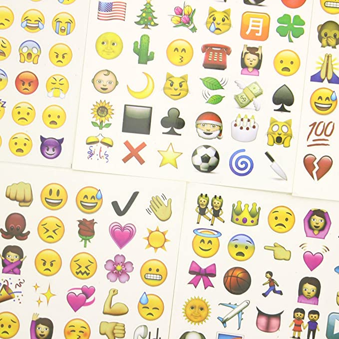 Zicome Small Cute Emoji Face Stickers, 25 Sheets, Set of 1200 Stickers
