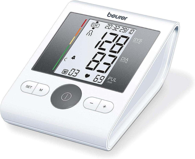 Beurer BM28 - Tensiometro de brazo, para tomar la presión arterial, con indicador de arritmia, pantalla clara, 2 horas alarma ajustable, manguito universal, memoria 4 x 30 mediciones, color blanco