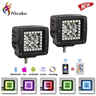 "Nicoko 18w 3"" Led work light with Chaser RGB Halo 10 Solid colors Over 72 Flashing Modes Headlights Frontlights Flasing Strobe Lights IP 68 waterproof Free wiring harness 1 year warranty: Automotive"