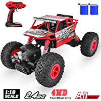 Remote Control Trucks Monster RC Car Off Road Crawler 1: 18 Scale 2.4Ghz Radio Controlled Car 4x4 High Speed Racing All Terrain Climbing Car Toys Boys Girls Brithday Red