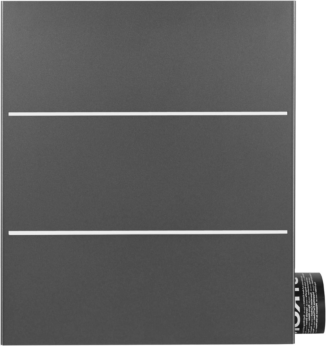 Mocavi Box 141R - Buzón con compartimento para periódicos, color gris y hierro brillante (DB 703)