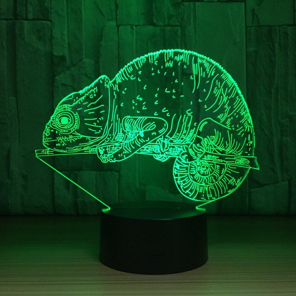 動物カメレオン3d Night Light Illusionタッチスイッチスマートホームデスクランプ7色変更テーブルライトwith USBケーブルfor寝室ホームデコレーション、誕生日ギフトクリスマスHoliday Gift forキッドor大人用 B07BL2ZK18