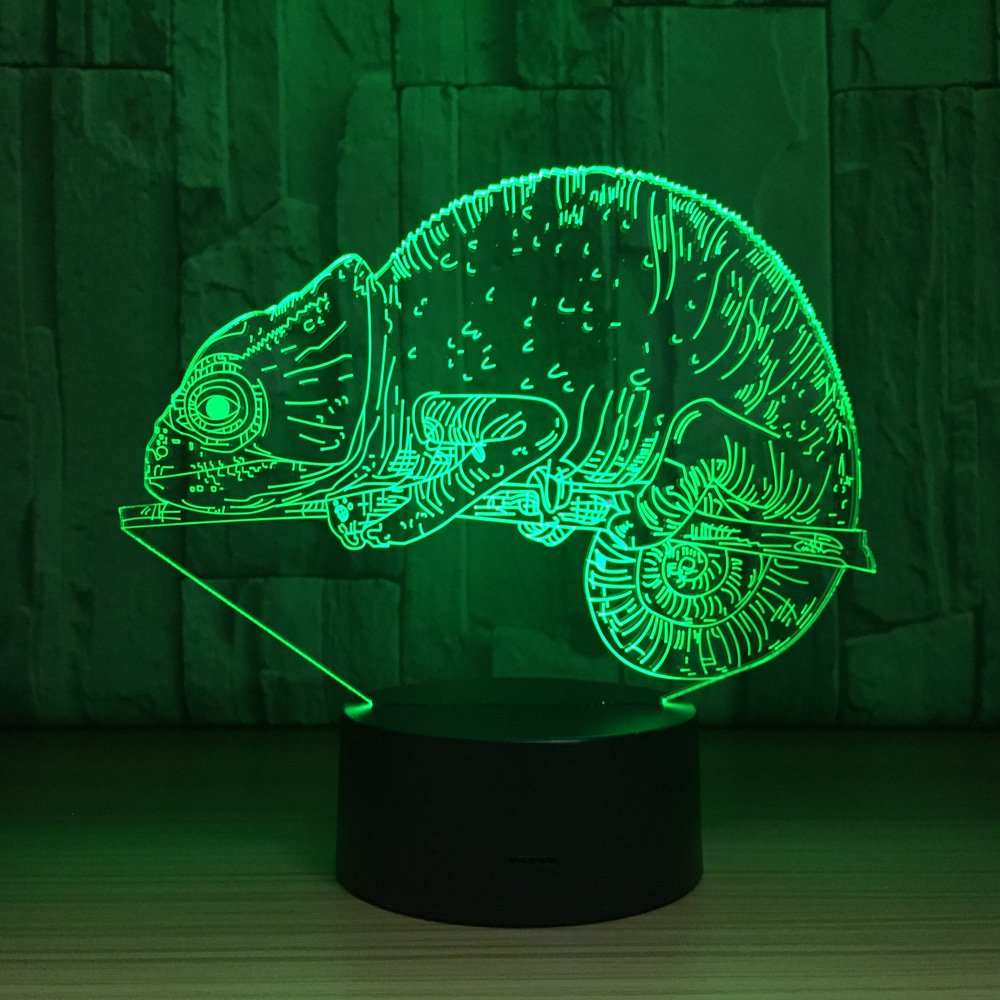 Chameleon Visual 3D Night light Animal Toys 2D lamp Xmas Chirstmas Festival Birthday Valentines Day Gift Nursery Bedroom Desk Table Decoration for Baby Kids children Lovers