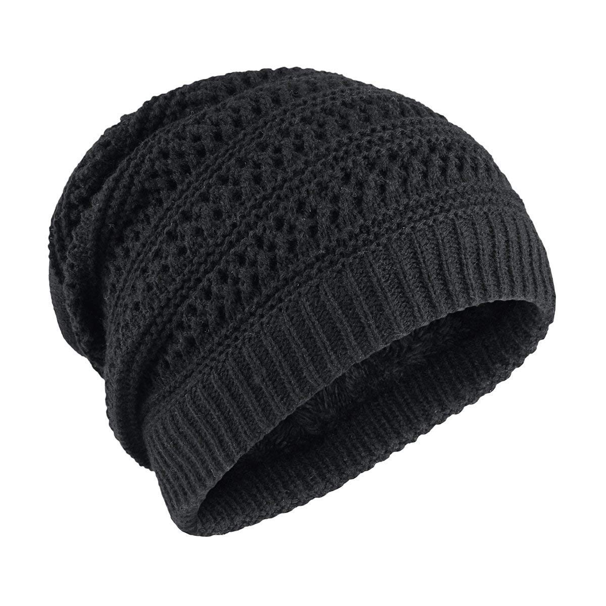 d05b6a89d1b OMECHY Slouchy Beanie Hats Unisex Daily Knit Skull Cap Winter Warm Fleece  Soft Baggy Hat Ski Cap