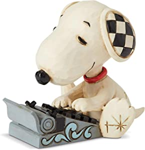 Enesco Jim Shore Peanuts Snoopy Typing Miniature Figurine, 3 Inch, Multicolor