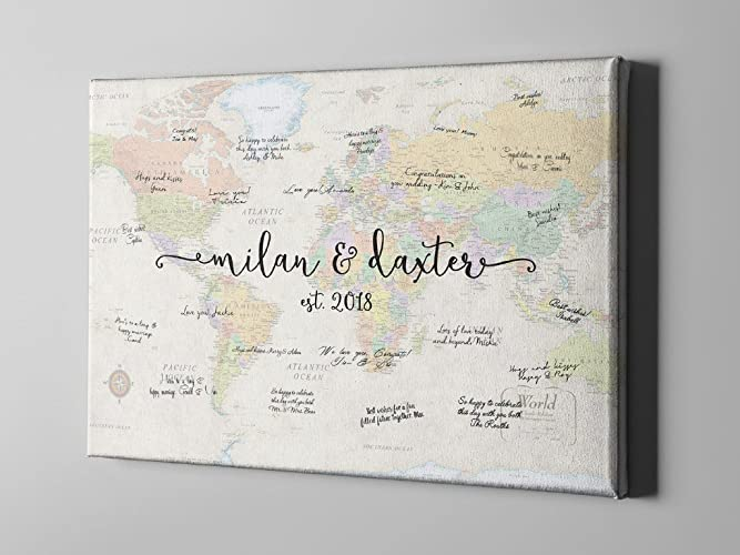 Amazon sale 50 off canvas guest book modern world map guest sale 50 off canvas guest book modern world map guest book world travel gumiabroncs Choice Image