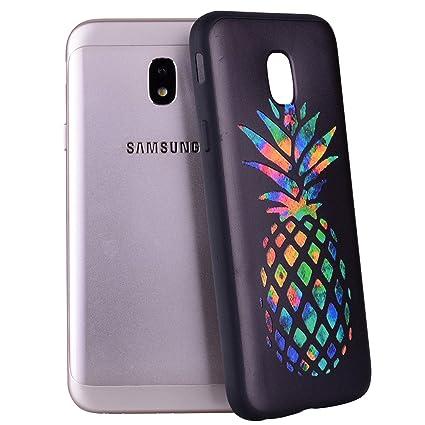 Yunbaozi Funda Compatible para Samsung Galaxy J5 2017 Carcasa Impresión Piña del Arco Iris