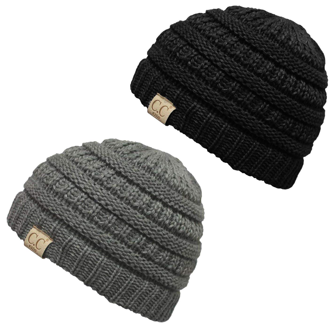 H-3847-2-0651 Kids Beanie (NO POM) Bundle - 1 Black, 1 Grey (2 Pack)