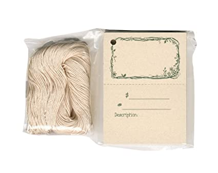 100 Craft Hang Tags TWIGS & FLOWERS & 100 Cut Strings for Crafts & Gifts.