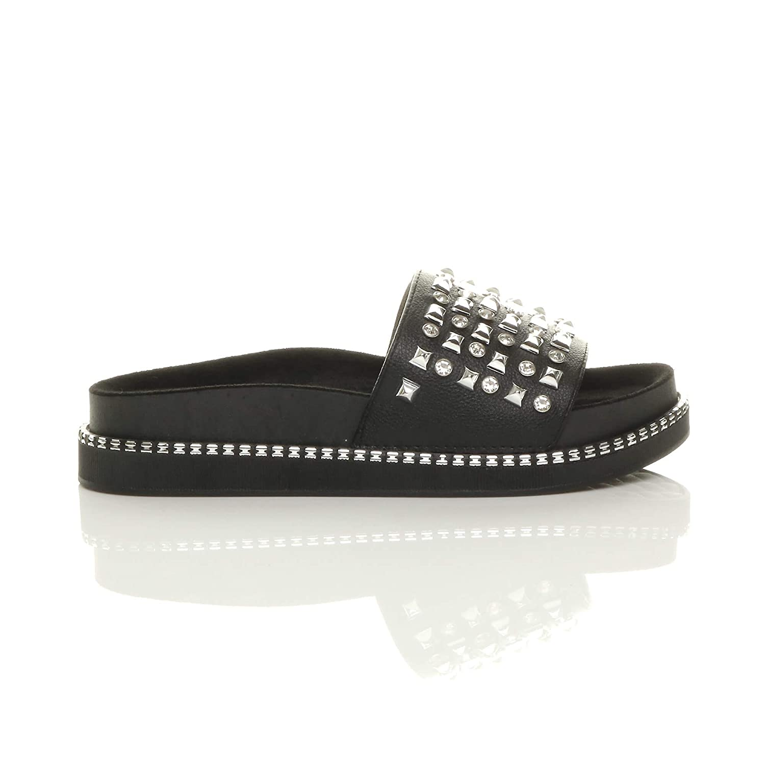 ad86e58aa129 Womens Ladies Stylish Flat Chunky Flatform Platform Studded Diamante Slip On  Sliders Slippers Sandals Fashion Shoes Casual Flip Flops New Summer Shoes  Size ...