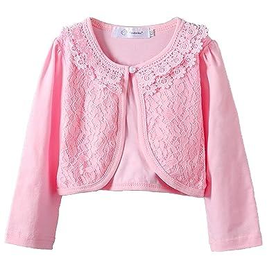 28b46d68eebe Amazon.com  Girls Long Sleeve Bolero Cardigan Cotton Short Shrugs ...